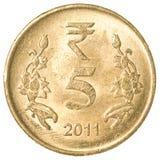 5 индийских рупий монетки Стоковые Изображения