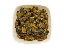 Индийское блюдо - фрай Bhindi/бамии стоковое изображение