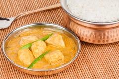 Индийское карри цыпленка с рисом Стоковая Фотография