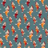 Индийское кино силуэта танцев женщины, иллюстрации вектора девушки одежд кино предпосылка картины традиционной безшовная иллюстрация штока