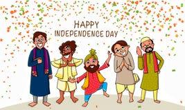 Индийское торжество Дня независимости с людьми Стоковые Фото