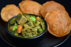Индийское bhaji Puri завтрака стоковое фото