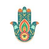 Индийской нарисованная рукой рука hamsa Стоковое Фото