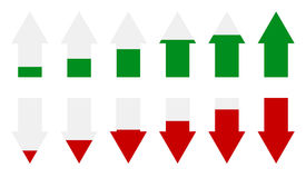 Индикаторы зеленой, красной стрелки ровные Стрелки как отметки представления иллюстрация штока