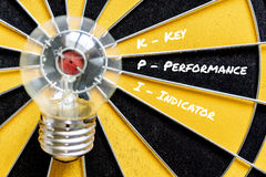 Индикатор ключевой производительности KPI с целью лампы идеи Стоковое Изображение