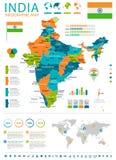 Индия - карта и флаг - infographic иллюстрация иллюстрация вектора