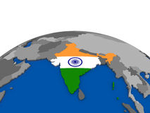 Индия на глобусе 3D иллюстрация штока