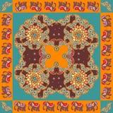 Индия Этническая печать bandana с границей орнамента Silk шарф шеи иллюстрация вектора