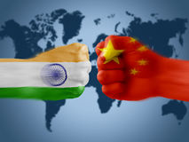 Индия x Китай Стоковые Фотографии RF