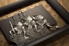 Индонезийская металлическая пластинка отличая 3 характерами от Hikayat Seri r Стоковая Фотография