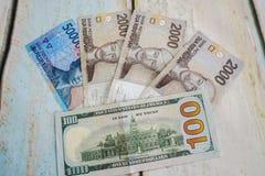 Индонезийские рупии и американский доллар usd Стоковые Изображения