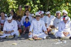 Индонезийские люди празднуют балийский Новый Год и прибытие весны Ubud, Бали, Индонезия Стоковое Фото