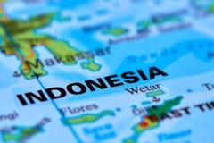 Индонезия на карте Стоковое Изображение
