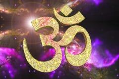 Индусское слово читая символ Om или Aum иллюстрация штока