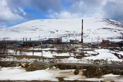 Индустриальная зона в полярной области России Стоковое Фото