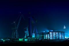 Индустриальная зона к ноча Стоковая Фотография