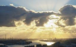 Индустриальная зона на заходе солнца Стоковая Фотография