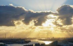 Индустриальная зона на заходе солнца Стоковое Изображение RF