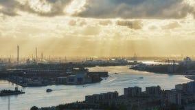 Индустриальная зона на заходе солнца Стоковое Изображение