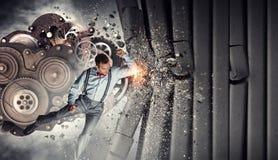 индустрия иконы дома конструкции принципиальной схемы кирпича предпосылки пользуется ключом сделанная стена Мультимедиа Стоковые Фотографии RF