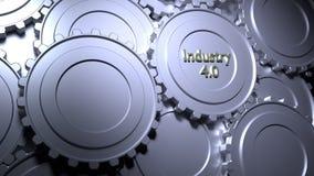 индустрия 4 шестерни 0 в серебряной концепции производства бесплатная иллюстрация