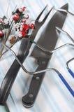 Индюк жаркого рождества высекая утвари установил - крупный план Стоковые Изображения RF