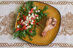 Индюк и салат Drumstick с arugula Стоковые Изображения