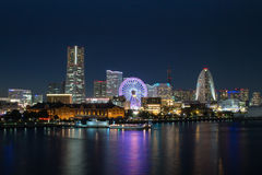 Иокогама, bayside Minato Mirai на ноче Стоковые Фото