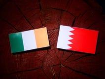 Ирландские сигнализируют с бахрейнским флагом на пне дерева Стоковое фото RF