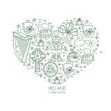 Ирландия - линейная форма сердца значков Стоковые Фото