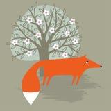 лиса под деревом Стоковое Фото