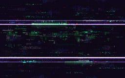 Небольшое затруднение отсутствие сигнала Искажения цифров с шумом пиксела цвета Предпосылка VHS с передернутыми линиями Видео- ко иллюстрация вектора