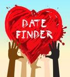 Искатель даты показывает поиск для иллюстрации любов 3d бесплатная иллюстрация