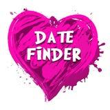 Искатель даты показывая поиск для иллюстрации любов 3d иллюстрация вектора