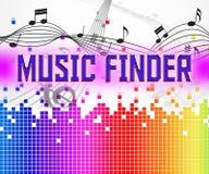 Искатель музыки показывает звуковые дорожки и аудио иллюстрация штока