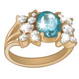Исключительное кольцо сделанное золота с инкрустированным голубым аквамарином и изолированных диамантов на белой предпосылке Прим иллюстрация штока