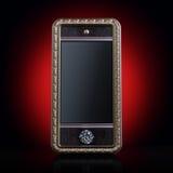 Исключительный золотистый мобильный телефон (версия на красной предпосылке) Стоковые Фото