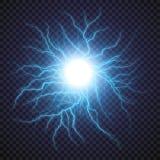 Искра грома проблескового света молнии на прозрачной предпосылке иллюстрация вектора