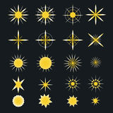 Искра играет главные роли значки Символы, вспышка свет, etc Стоковые Изображения RF