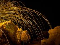 Искра от стальных шерстей Стоковые Фото