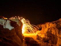 Искра от стальных шерстей Стоковая Фотография