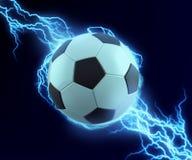 Искра футбольного мяча с голубым громом Стоковое Изображение
