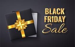 Искра яркого блеска черной продажи пятницы золотая Открытая черная подарочная коробка со смычком золота и взглядом сверху ленты т иллюстрация штока