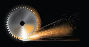 Искры круглой пилы Стоковые Фотографии RF