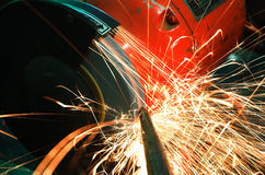искры точильщика промышленные Стоковое Изображение RF