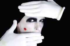 искусный портрет смотреть прищурясь mime Стоковая Фотография