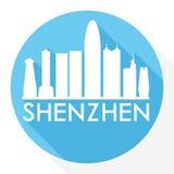 Искусства вектора значка Шэньчжэня Китая логотип шаблона силуэта города горизонта дизайна тени круглого плоский иллюстрация штока