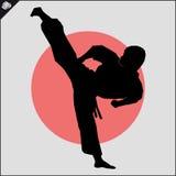 искусства военные Сцена силуэта бойца карате Стоковая Фотография