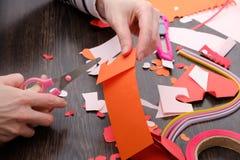 Искусства и поставки ремесла для ` s валентинки Святого Покрасьте бумажные, различные ленты washi, поставки сердец для украшения Стоковые Изображения