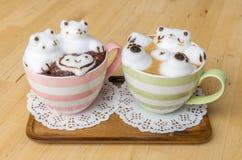 2 искусства кофейной чашки и latte Стоковое фото RF